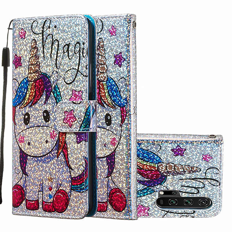 Honor 20 Pro Unicorn Print Magnetic Flip Wallet Leather Card Slot Case Cover for Huawei Honor 20 Pro Patterned Painted Case