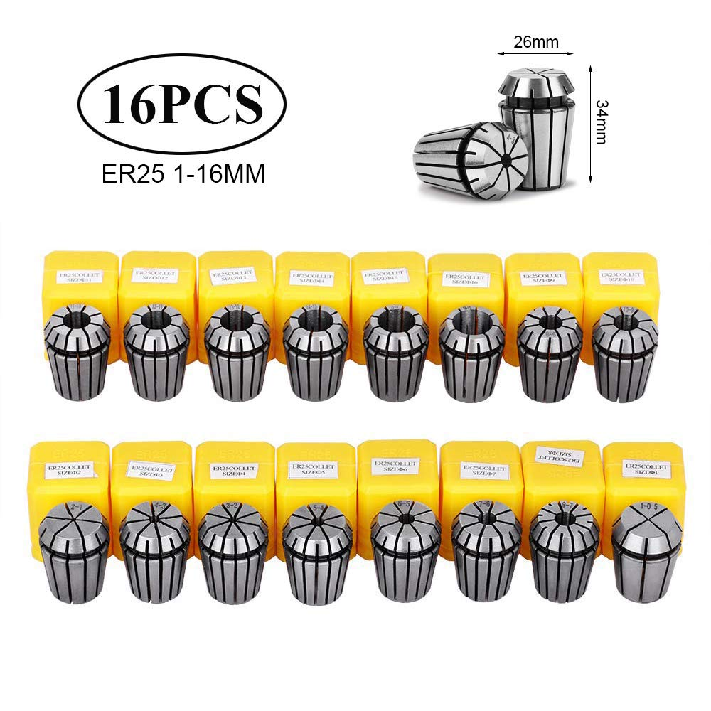 16Pcs ER25 Accuracy Spring Collet Chuck 1mm-16mm Collet Chuck For CNC Milling Lathe Tool Spindle Motor Machine ER 25Collet Chuck