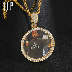 Hip Hop Custom Made Photo Roundness Solid Back Iced Out Bling Cubic Zircon Personalized Necklace & Pendant For Men Jewelry