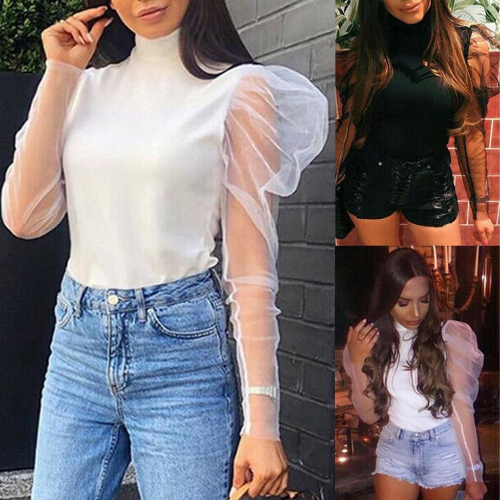 Tshirt Women Fashion Casual Turtleneck Solid Puff Sleeve Long Sleeve Tops Haut Femme Camiseta Mujer Harajuku Top Women T Shirt