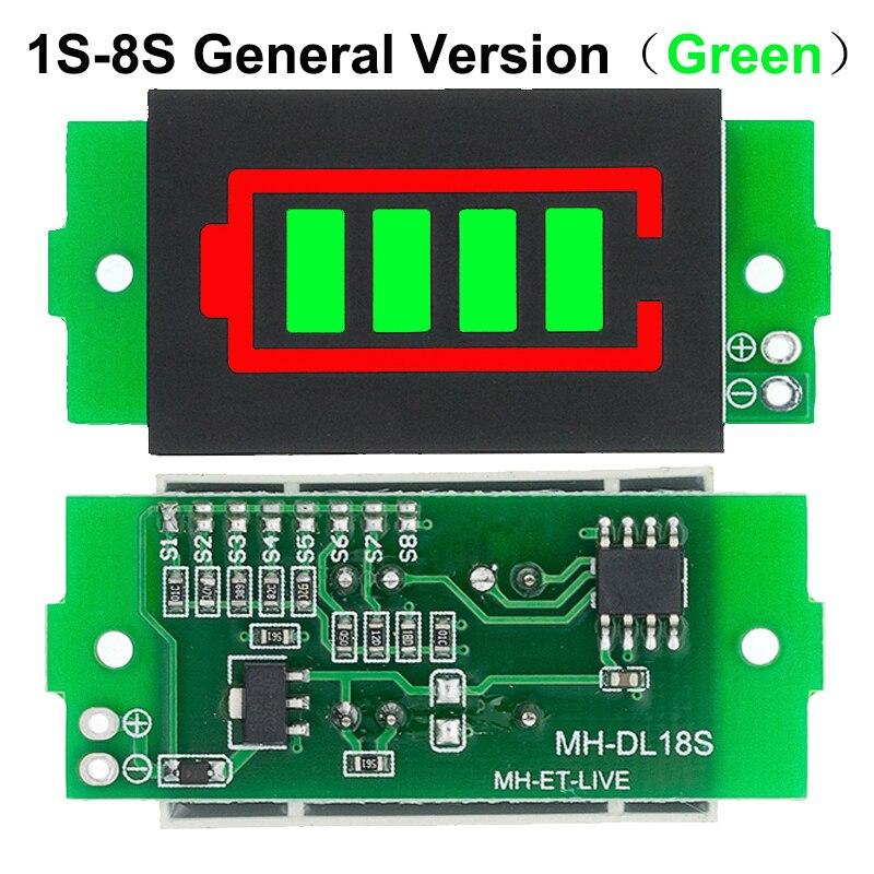 Индикатор емкости литиевого аккумулятора 1-8S 1S/2S/3S/4S, 3,7 в, дисплей 4,2 в, тестер мощности аккумулятора электромобиля, литий-ионный