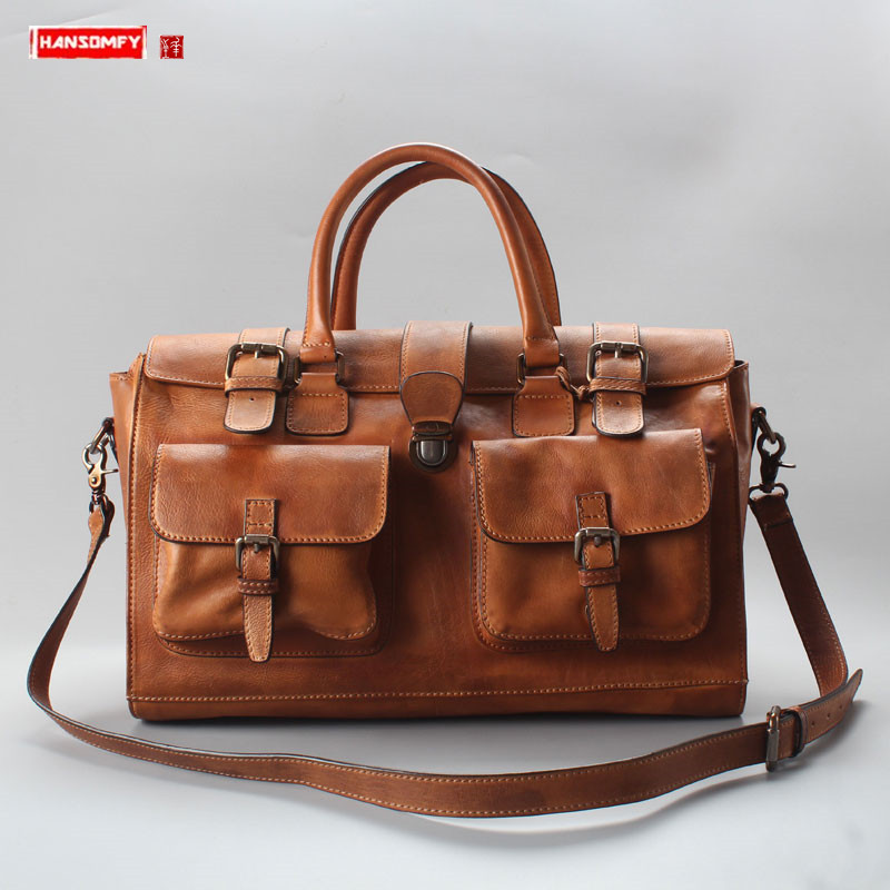 Vintage Cowhide leather Handbag Men's bag male travel bag large capacity genuine leather business Men Buckle hand luggage bag