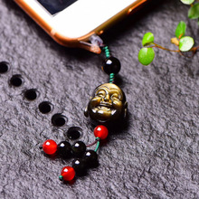 Mobile phone pendant male creative obsidian smile face Buddha ornaments Apple personality dust plug rope