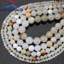 Natural Jades Stone Light Green Chalcedony Round Loose Beads 4 6 8 10 12 MM Diy Bracelets Necklace Jewelry Making Free shipping(China)