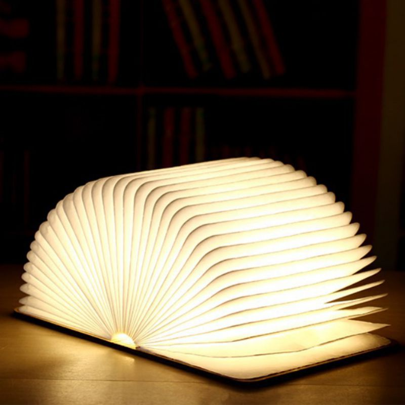 Creative Wooden Book Light Foldable Usb Charging Led Light Night Light Portable For Home Decoration Table Lamp