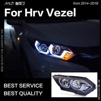 AKD Car Styling Head Lamp for HR-V Headlights 2016up HRV Vezel LED Headlight led DRL Double Lens Hid Bi Xenon Auto Accessories
