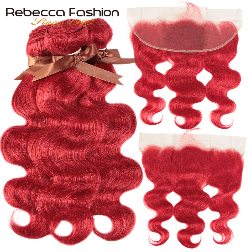 Rebecca Red Bundles With Frontal Body Wave Frontal With Bundles Brazilian Remy Human Hair 3 Bundles With Closure