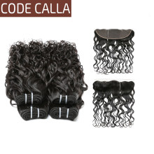 Code Calla Brazilian Water Wave 100% Unprocessed Raw Virgin Human hair Natural color human hair bundles with 13*4 lace frontal(China)