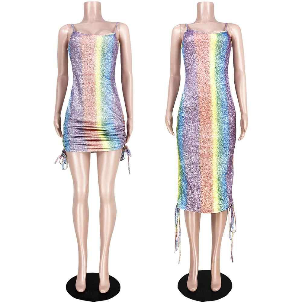 Seksi senfoni Glitter elbise kadınlar zarif gökkuşağı çizgili İpli spagetti kayışı Bodycon bandaj parti elbise Vestidos Robe