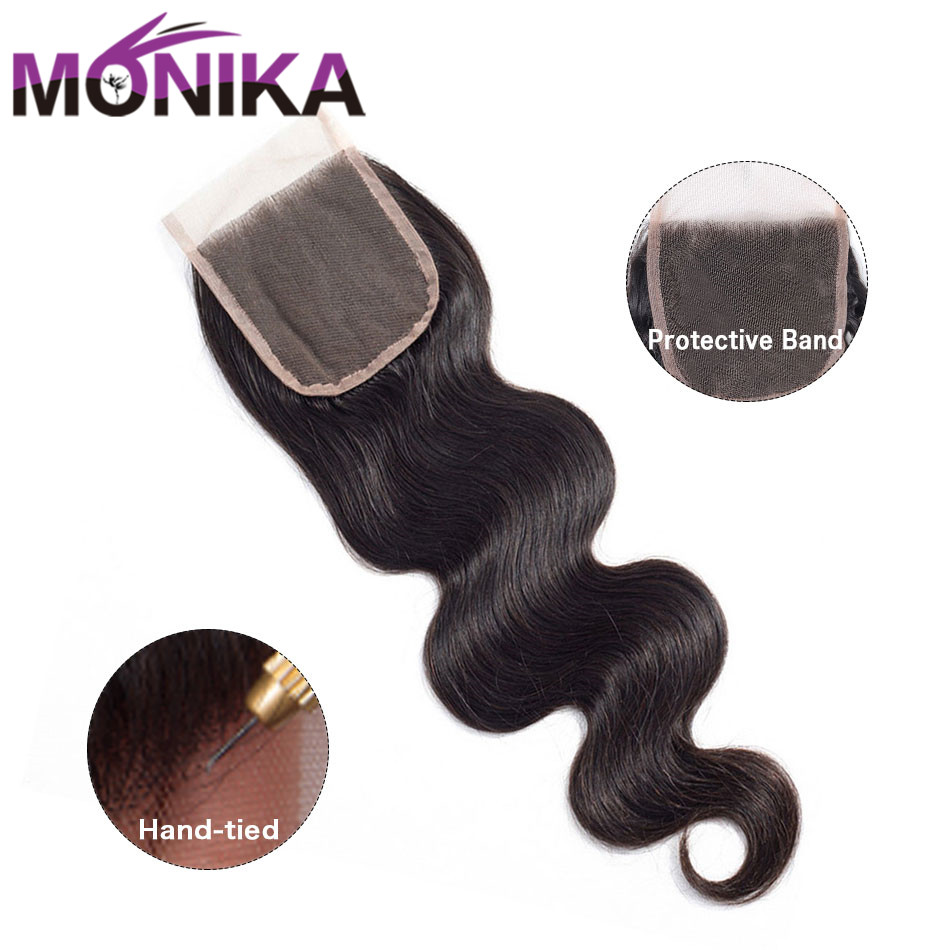 Image 2 - Monika 4x4 Lace Closure Hair Brazilian Body Wave Closure Human Hair Closure Free/Middle/3 Part Swiss Lace Closures Natural Color-in Closures from Hair Extensions & Wigs