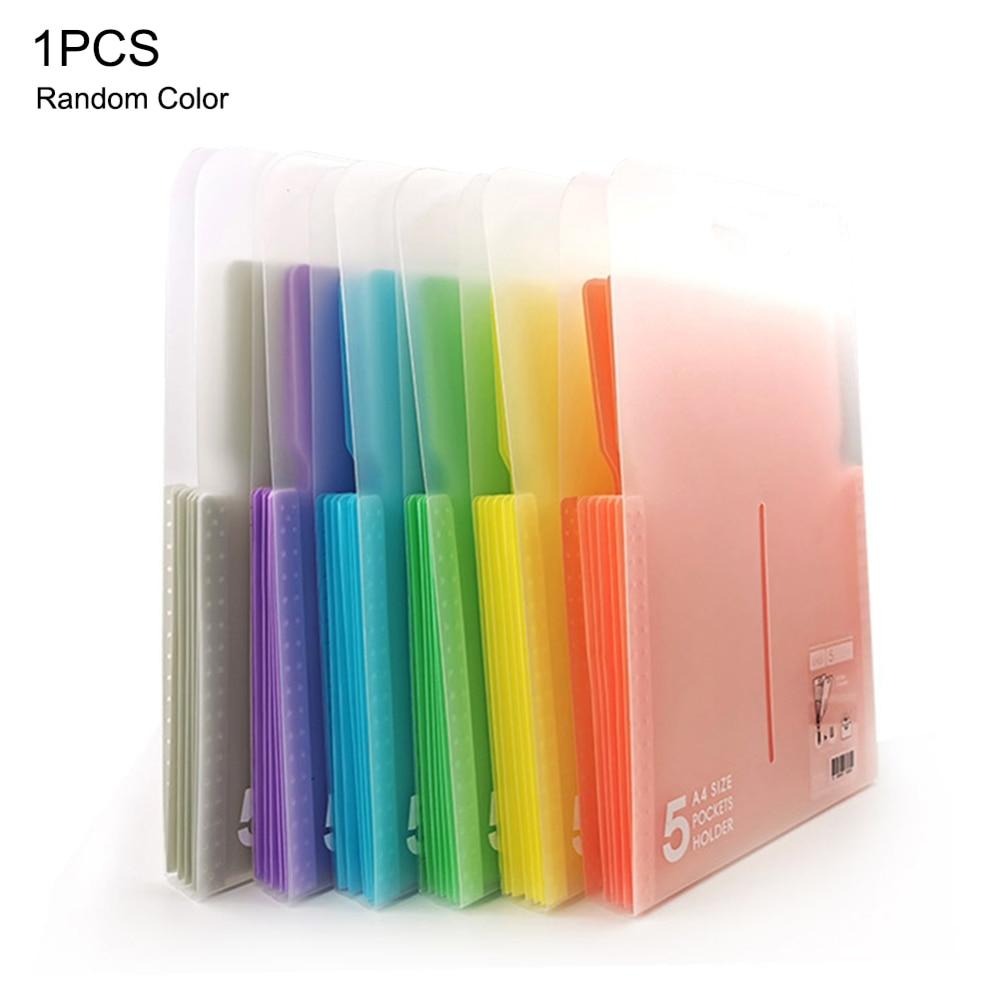 5 Pockets Document Bag Paper File Vertical Design Expanding File Folders A4 Letter Holder Stationery School OfficeOrganizer