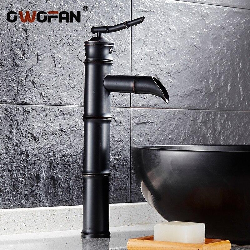 Ванная комната классический ретро водопад черный умывальник креативный бамбук форма раковина краны туалет одной ручкой смеситель FES-9051