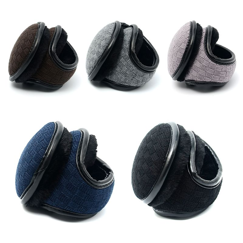 Unisex Winter Polar Fleece Earmuff Plaid Crochet Warm Lining Foldable Ear Warmer