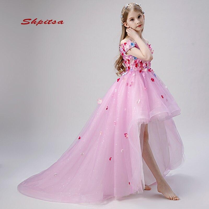 Rose belle robes de fille de fleur pour les mariages fête fleur première Communion robes de reconstitution historique pour les filles