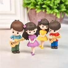Figurines de Couple amoureux, 1 paire, artisanat Miniature avec guitare, décoration de jardin féerique, accessoires de décoration de maison