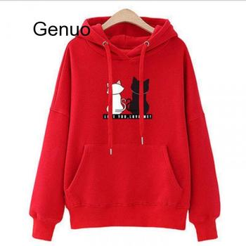 цена на Winter Pullover Sweatshirts Women Cat Kawaii Poleron Mujer 2020 Kangaroo Pocket Hoodie School Korean Streetwear Oversized Hoodie