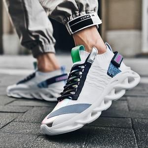 Image 2 - קלאסי מעופף ארוג מגמת גברים של נעליים יומיומיות קל משקל נוח ריפוד נעלי ריצה גבוהה אלסטי החלקה ללבוש נעליים