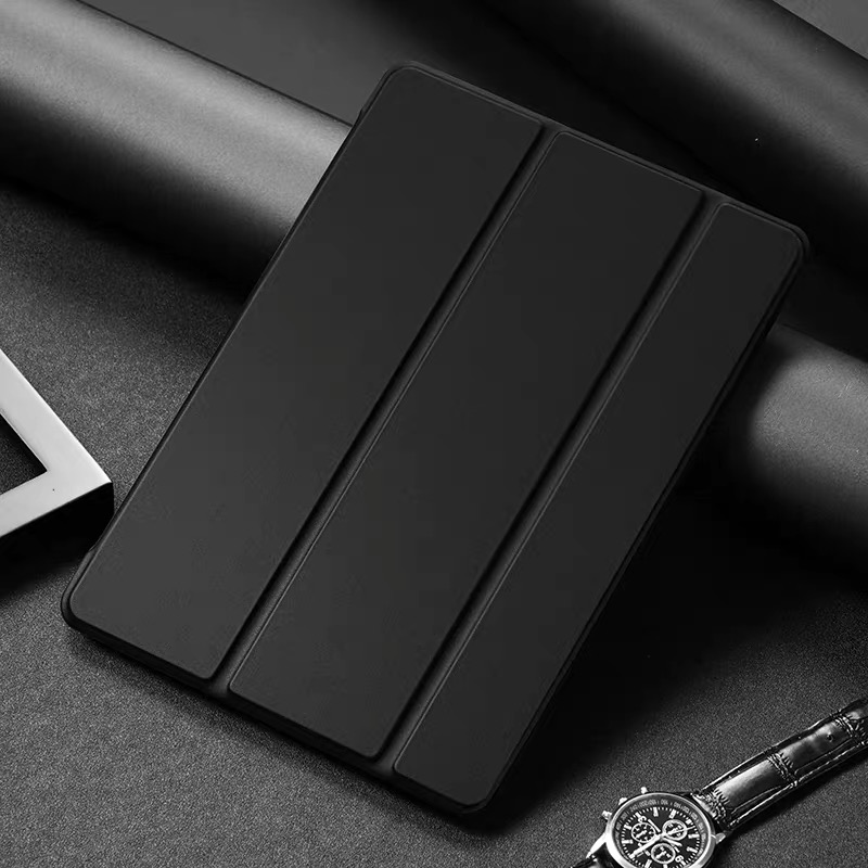 Black Black Tablet Case For Apple iPad 10 2 2020 8th generation Tri fold Flip PU Leather Cover