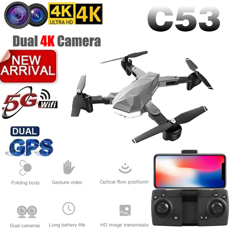 2019 New Quadcopter C53 GPS Drone With 4K HD Camera 5G WIFI FPV RC Foldable Professional Helicopter RC Drones Toy For Kids