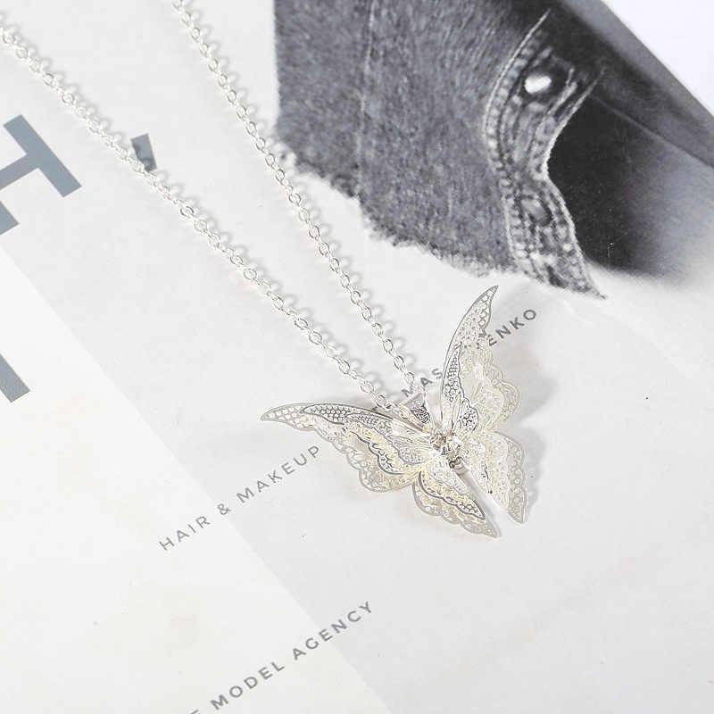 בוהמי טוס פרפר תליון שרשרת עצם הבריח שרשרת תכשיטי נשים סגסוגת הולו כנפי קולר 2020 אופנה