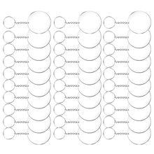 72/96 pièces porte-clés en acrylique cercle parent disques ensemble porte-clés clair rond porte-clés en acrylique porte-clés pour bricolage A50