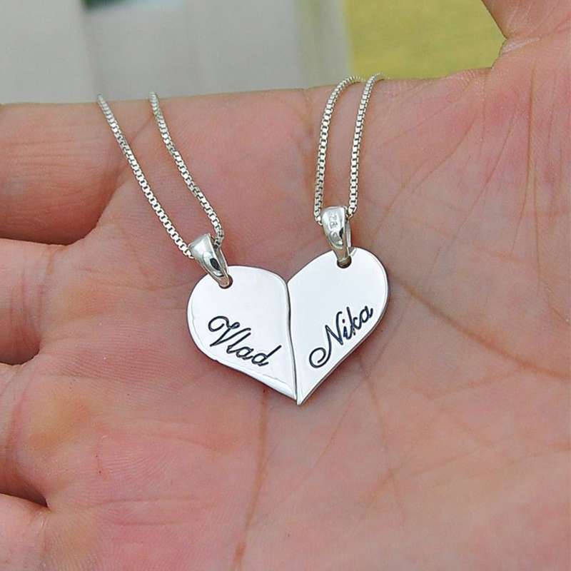 2 Pieces/Set Half love Heart Pendant Necklaces Custom Name Necklace for Couple Good Friend stainless steel Couple Gift BFF image