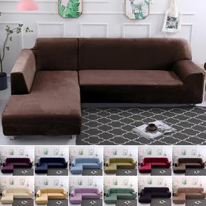 Sofa-Cover Velvet Plush-L Furniture Chaise Longue-Corner Stretch Elastic Living-Room