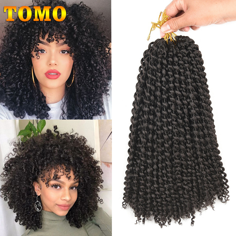 TOMO Marlybob Crochet Hair 12 Inch Afro Kinky Curly Crochet Braids Ombre Color Jerry Curl Synthetic Braiding Hair Extensions