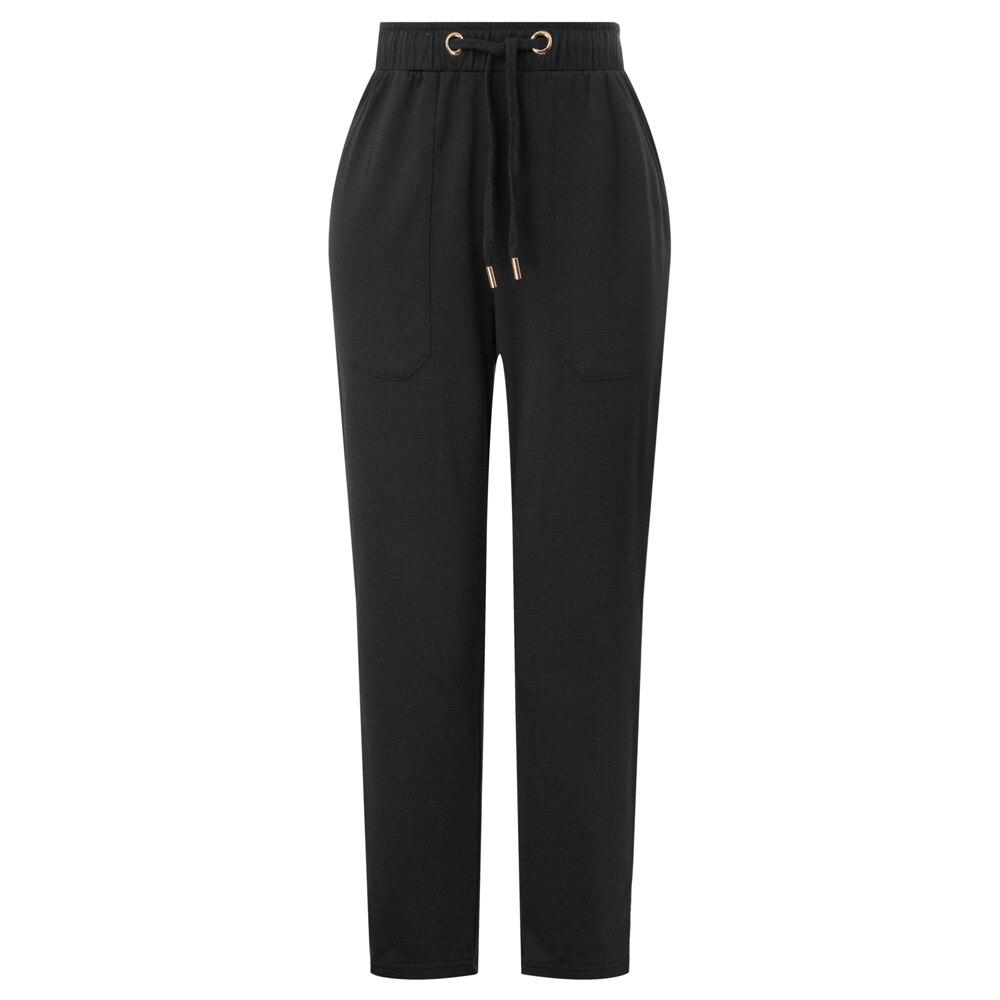 pants   Women Drawstring Waist   Pants     Capri   With Pockets Elastic Waist Jogging black solid color casual autumn lady pencil trousers