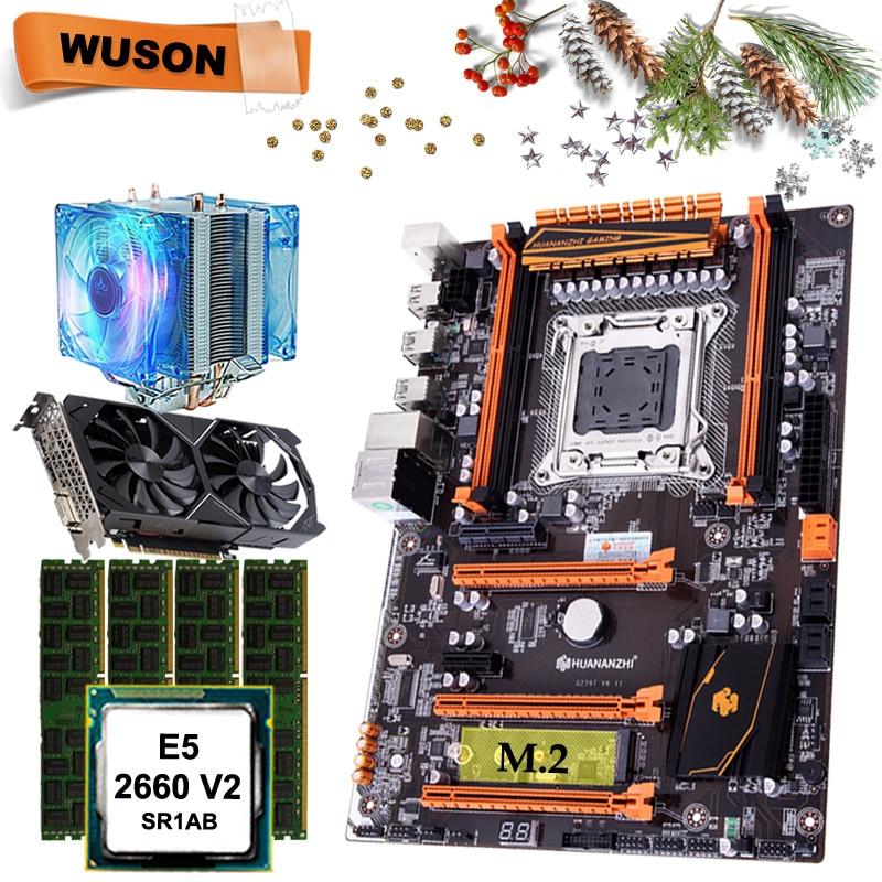 HUANANZHI X79 deluxe motherboard CPU RAM set with video card GTX1050Ti 4G DDR5 CPU Xeon E5 2660 V2 RAM 64G(4*16) DDR3 RECC 1