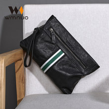 Wmnuo Men's Clutch Bags Cow Real Leather Patchwork Big Soft Hand Bag For Male Korean Wallets Clip Envelope Bag Zipper Black(China)