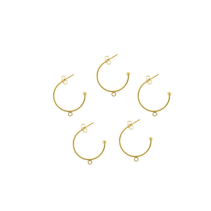 6 pçs/lote aço inoxidável c-em forma de orelha redonda gancho brincos pingentes brincos orelha pino diy artesanal brinco fazendo descobertas