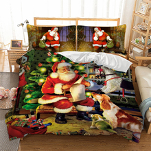 Christmas Bedding Set Queen/Twin/King Size 3D Santa Claus christmas tree Printed Duvet cover pillowcase Decoration for Home