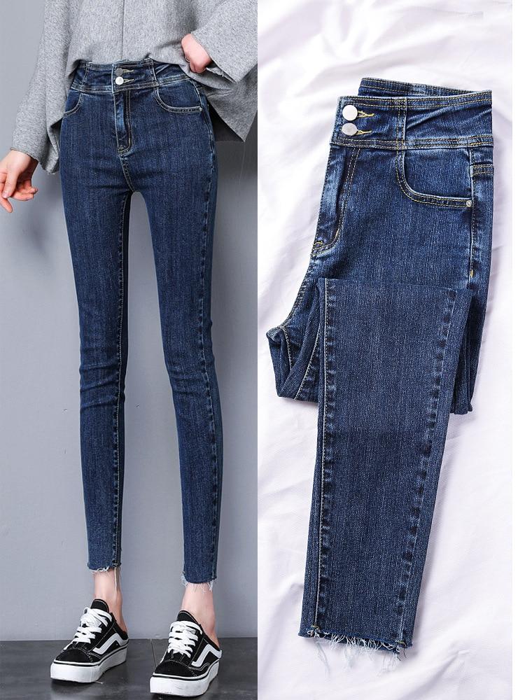 High Waist Jeans Women's 2019 Spring Clothing Season New Style WOMEN'S Pants Slimming Versatile Tight-Fit Capri Skinny Pencil Pa