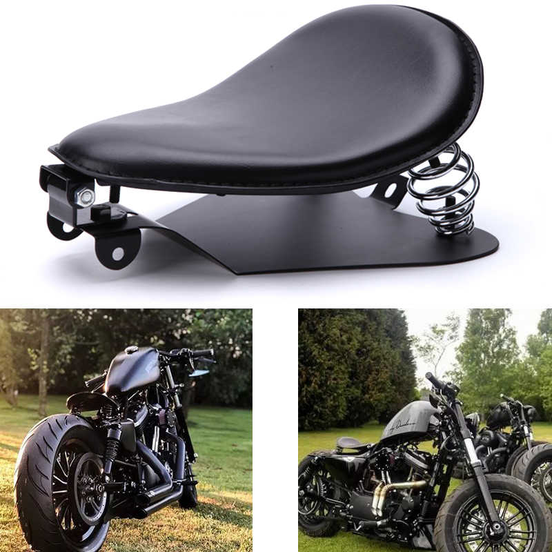 Brown Alligator Leather Solo Driver Seat Cushion Pad Saddle Solo Seat Springs Bracket Mounting Kit for Harley Sporster 883 1200 Chopper Bobber 48 Dyna