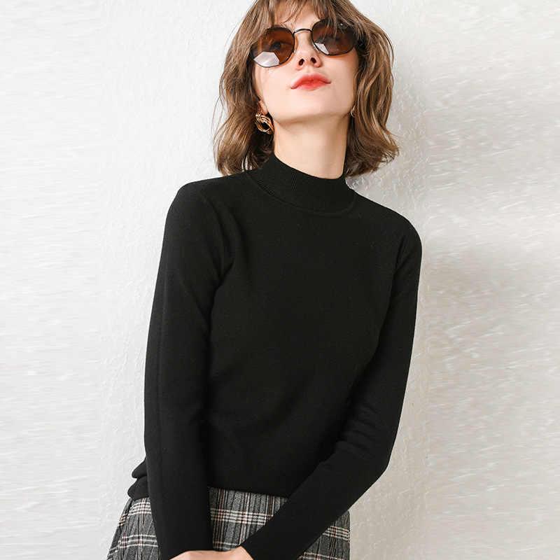 รอบคอเสื้อกันหนาวชุดสตรีฤดูใบไม้ร่วงและฤดูหนาวใหม่สีทึบแขน Close To ถักเสื้อกล้ามผู้หญิง