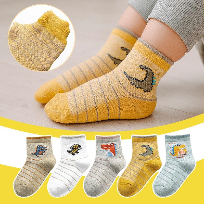10Pcs/lot Spring Summer children's socks Mesh Cotton Socks for a boy Striped Solid socks for children Girls Kids Sport Socks 6