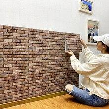 Rustic Vintage 3D Faux Bricks Wallpaper Self Adhesive Roll Vinyl PVC Retro Industrial Loft Wall Paper Brown Waterproof Washable