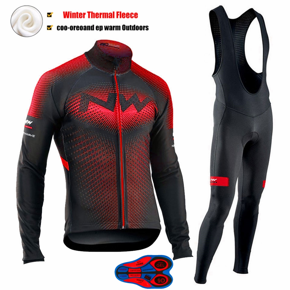 <font><b>Northwave</b></font> <font><b>2019</b></font> Winter thermal fleece Cycling Clothes <font><b>NW</b></font> men's Jersey suit outdoor riding bike MTB clothing warm Bib Pants set image