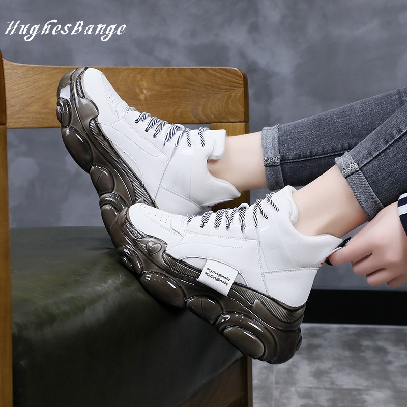 Sneakers Women Thick-soled Casual High-top Shoes Women Autumn Winter New Style Bear Bottom Glue Increase Thewild Spongecake Tide