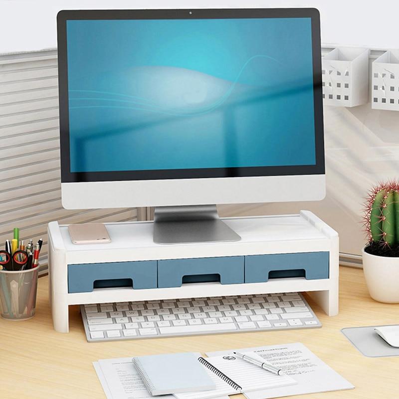 Storage of computer monitor screen mounted shelf base desktop keyboard office elevated plastic rectangular support storage box