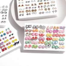 36 pares de brincos misturados estilos cristal strass sol flor geométrica animal plástico parafuso prisioneiro brincos conjunto para meninas jóias