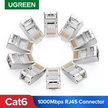 Conector rj45 ugreen, conector ethernet modular 8p8c, plugue de cabeça banhado a ouro gato 6, rede crimpadora rj 45 conector cat6