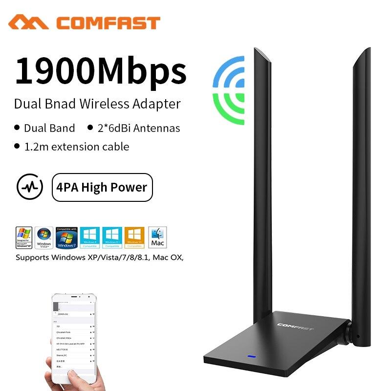 1900Mbs USB3.0 беспроводной 2,4G & 5G Wifi адаптер высокоскоростная сетевая карта RTL8814AU Двухдиапазонная 802,11 AC 12dbi антенна Ноутбук Настольный