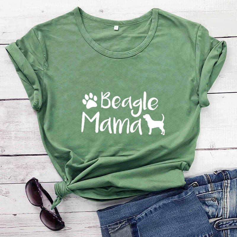 Beagle Mama Stampato Nuovo Arrivo Wome delle Divertente 100% T-Shirt In Cotone Amante Del Cane Camicette Regalo per Mamma Cane Beagle Mamma magliette