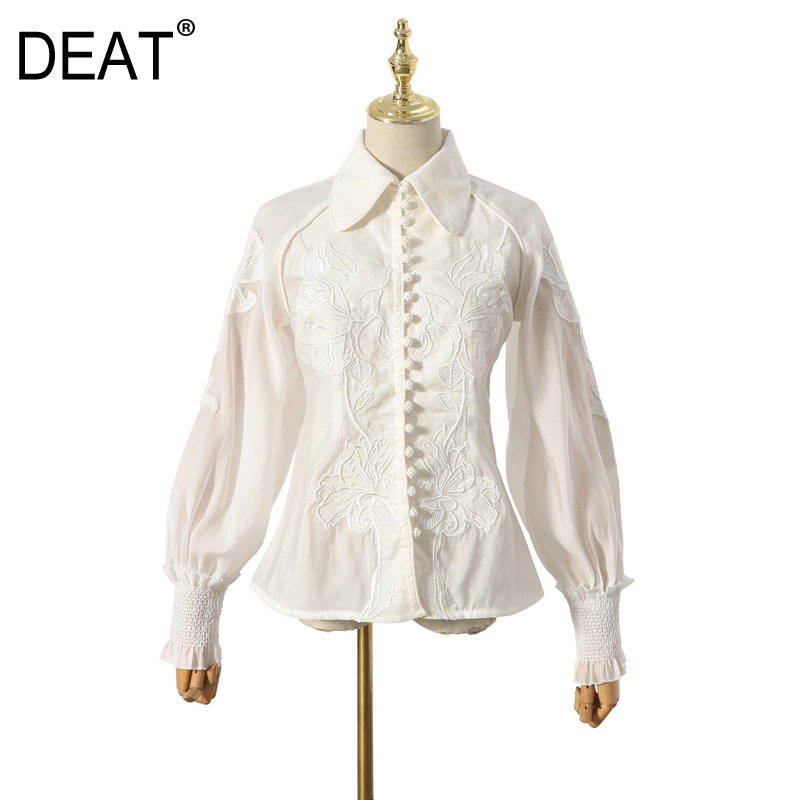 DEAT 2020 New Spring Fashion Women Clothes Turn-down Collar Lantern Sleeves Embroidery Hollow Out Sexy Shirt Blouse WK41600L