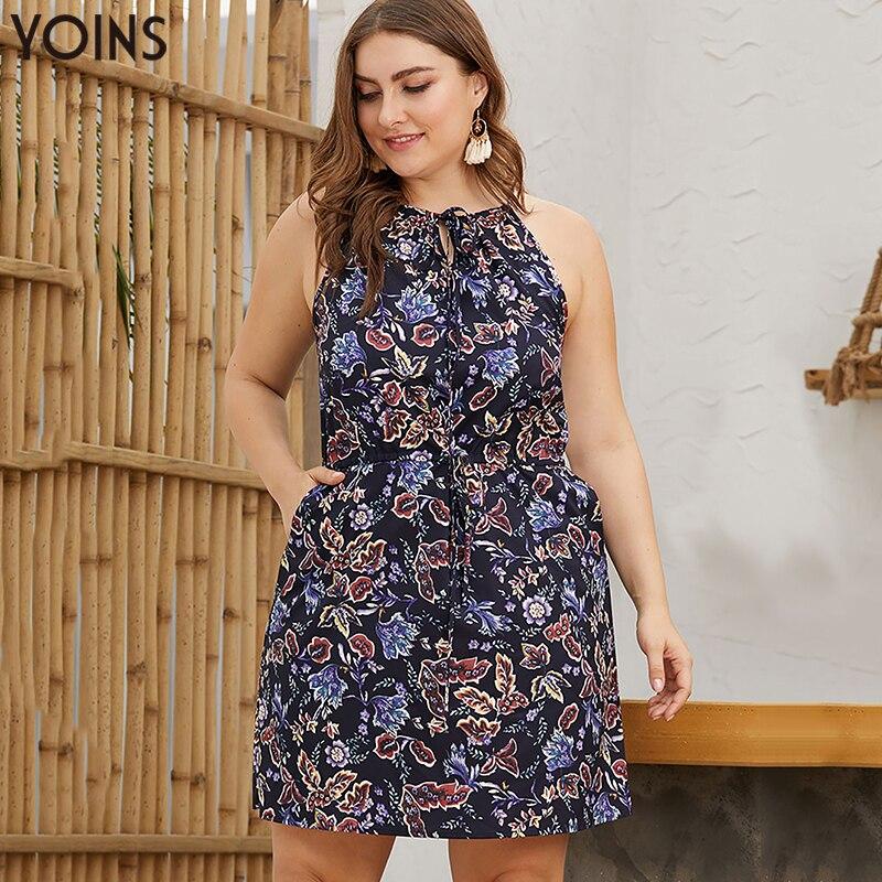 Женские Платья с цветочным принтом YOINS, винтажные повседневные Мини-платья с лямкой через шею, без бретелек, лето 2020