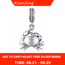 New arrival 925 Sterling Silver beads Crab Pendant Charms with zircon Fit original pandora bracelet DIY jewelry For women Gifts france popular jewelry 925 sterling silver handcuffs bracelet for men women with rope zircon silver pendant bracelet menottes