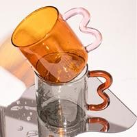 Tazze di vetro colorate Design originale tazza di vetro ondulata colorata tazza di caffè semplice onda fatta a mano per acqua calda