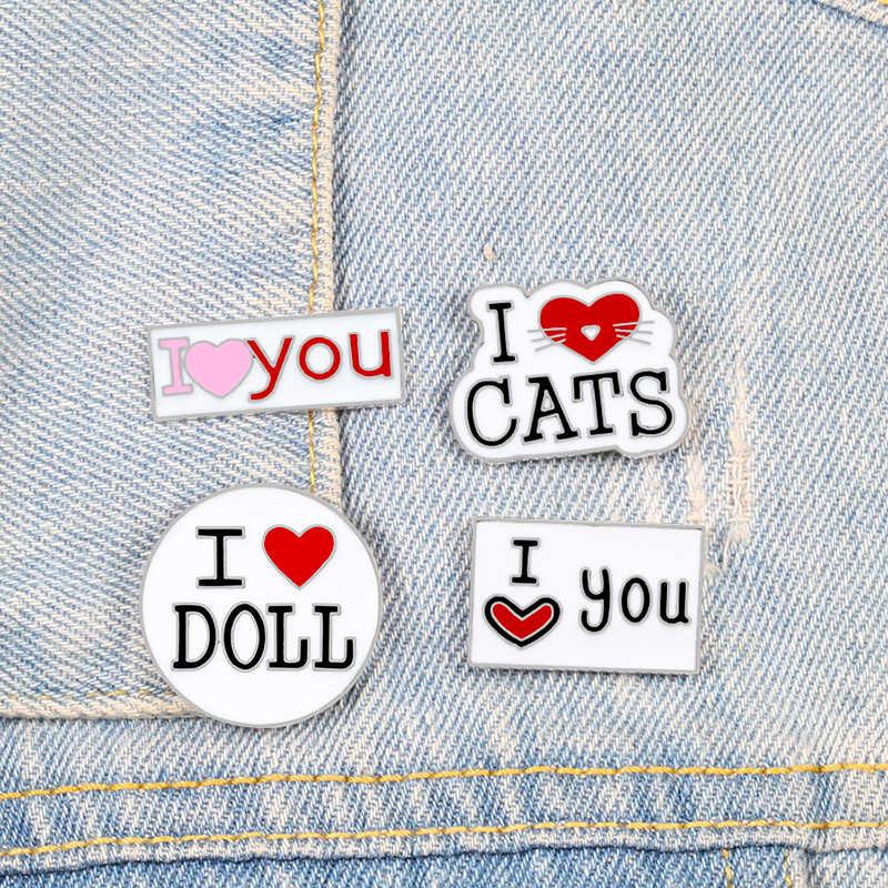 """С надписью «I Love буквы коллекция булавок и надписью """"I love U кошки броши"""" Кукла """"Забавные в виде сердца, для влюбленных значок эмали штырь отворотом куртки для девочек пальто с воротником и ювелирные изделия"""